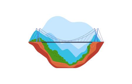 Bridge in mountains, modern pedestrian suspension bridge over abyss. Design cartoon style isolated on white.