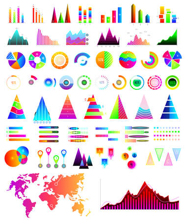 Business statistics in form charts, growth graph. reporting in infographics. vector illustration isolated on white.