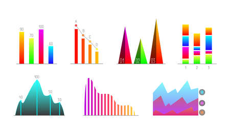 Business statistics in form charts, growth graph. reporting in infographics. Cartoon vector illustration isolated on white.