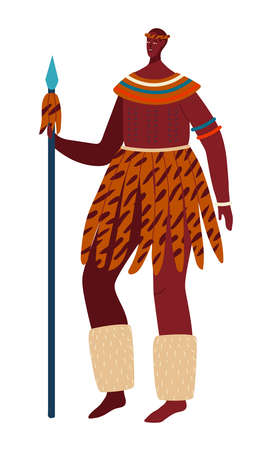 National culture, multinational people, indigenous africa, traditional clothing style. Cartoon vector illustration isolated on white.