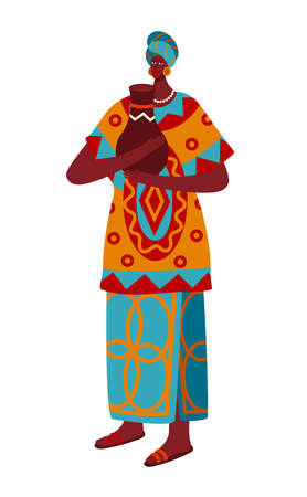 National culture, multinational people, African dress, black woman with jug, African. Cartoon vector illustration isolated on white. 向量圖像