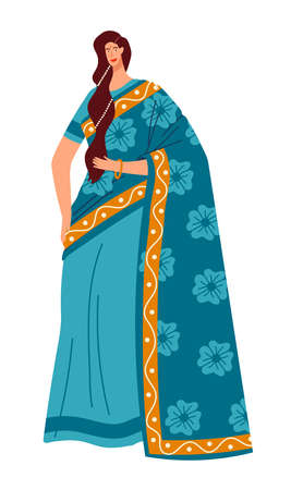 National culture, multiethnic people, Indian sari, native Indian woman. Cartoon vector illustration isolated on white.