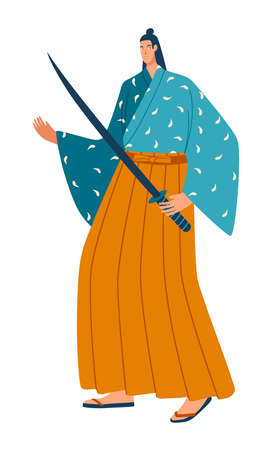 National culture, multinational people, Japanese samurai in traditional kimono. Cartoon vector illustration isolated on white.