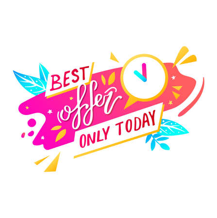 Bright discount banner, summer sale lettering on poster, product promotion. Cartoon vector illustration isolated on white.