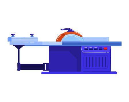 Electric machines in production, machine tool for making wood products. Cartoon vector illustration isolated on white.