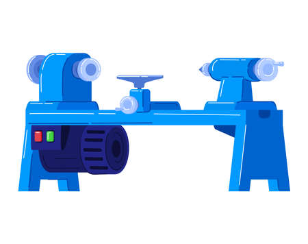 Electric machines in production, planer for wood, thickness stripping equipment. Cartoon vector illustration isolated on white. 向量圖像