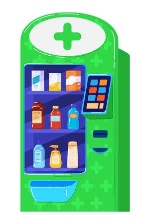 Medical drugs vending machine  cartoon vector illustration, isolated on white.