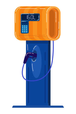 Gasoline vending machine, powerful automatic pump for automobile maintenance. Cartoon vector illustration isolated on white.