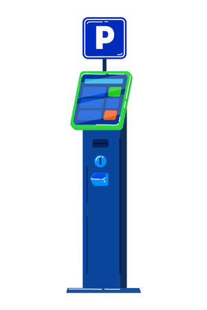 Ticket vending machine for car-park, cars in city, parking city transport. Cartoon vector illustration isolated on white. 向量圖像