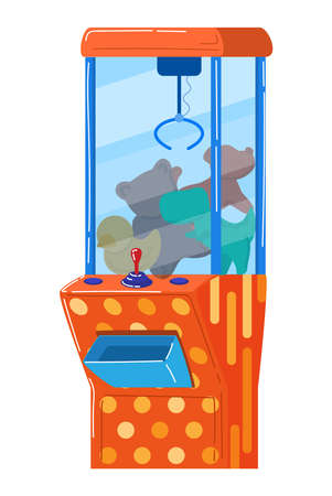 Soft toy vending machine, winning prize, game entertainment. Cartoon vector illustration isolated on white. 向量圖像