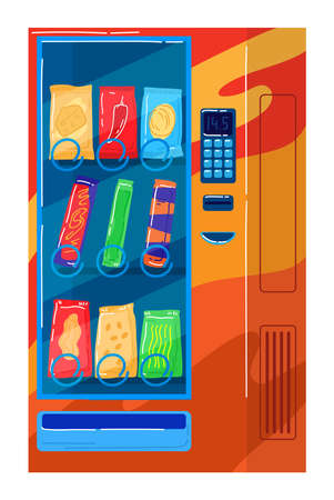 Food vending machine, automatic shopping technology, passive business. Cartoon vector illustration isolated on white.