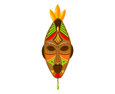 Ethnic sim mask, symbol tribal culture, indian craft, traditional souvenir. Cartoon vector illustration isolated on white.