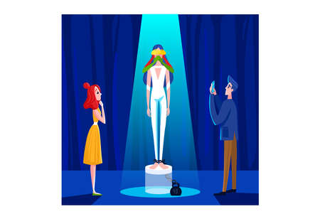 Contemporary art, gallery collection, exhibition museum, young people admire. Cartoon vector illustration isolated on white.