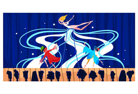 Contemporary art, stage performance people, audience background, curtain actor cartoon style vector illustration.