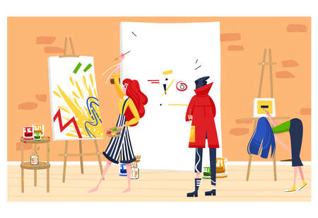 Contemporary fine art, gallery draws attention, artist draws picture, workshop exhibition flat style vector illustration.