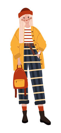 Office casual characters, stylish girl, fashion standing style, modern young clothes flat style vector illustration.
