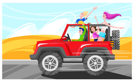 People drive car, road drive automobile, vehicle speed, happy young people road,  cartoon style vector illustration.