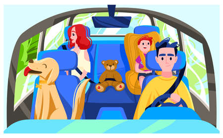 People drive car, drivers cabin, dog automobile, family vacation, child moving seat cartoon style vector illustration.