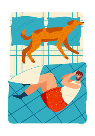 A guy and a dog sleep on the bed cartoon style vector illustration.