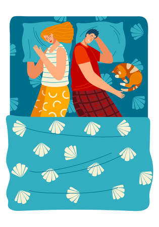 A couple and dog sleep on the bed flat style vector illustration.