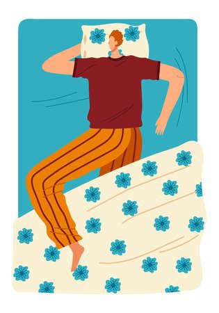 Woman sleep on the bed cartoon style vector illustration.