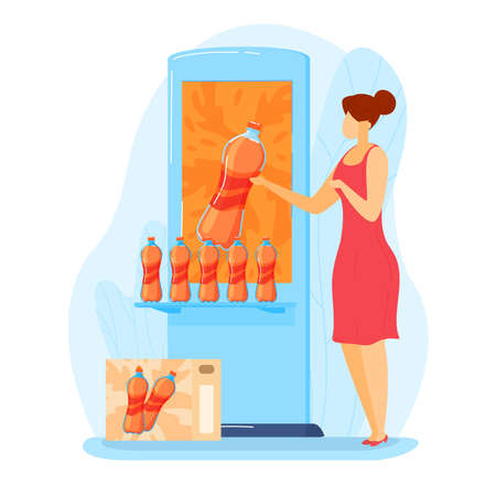 Advertising promotion sweet water. liquid product exhibition stand, orange cocktail in flat style vector illustration.