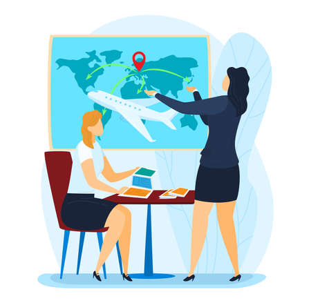 Agency promotion, advertising center, travel agency consultant, airplane promo booking flat style vector illustration. 向量圖像