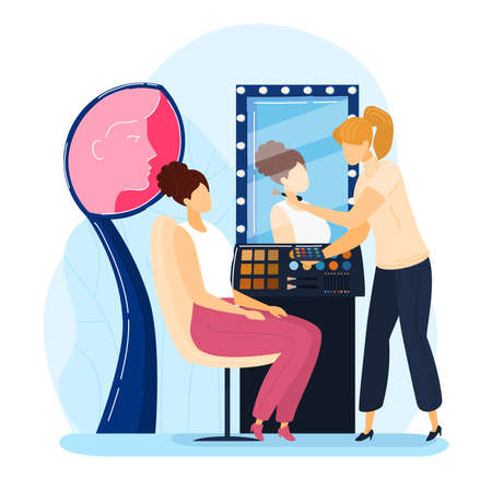 Booth exhibition, promotion makeup, girl fashion beauty salon, brush care cosmetics flat style vector illustration.