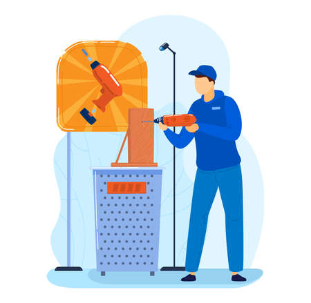 Exhibition screwdriver, tool promotion, advertising power electricity equipment flat style vector illustration.