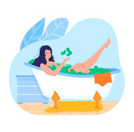 Rich millionaire, dollar bath, success beautiful girl, spa bathing, isolated on white flat style vector illustration. 向量圖像