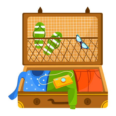 Vacation suitcase isolated on white vector illustration.