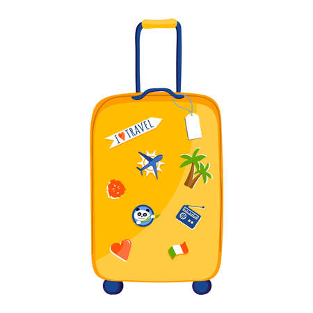 Travel suitcase isolated on white, flat style vector illustration. 向量圖像