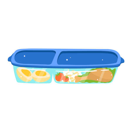 Plastic baggage container, lunch food, fresh salad, takeaway dinner isolated on white design cartoon style vector illustration.