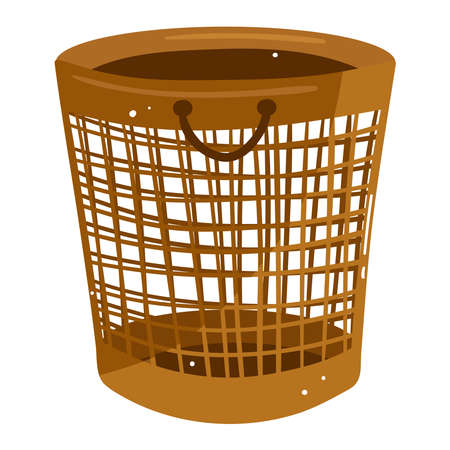 Laundry basket, empty plastic container isolated on white design cartoon style vector illustration.