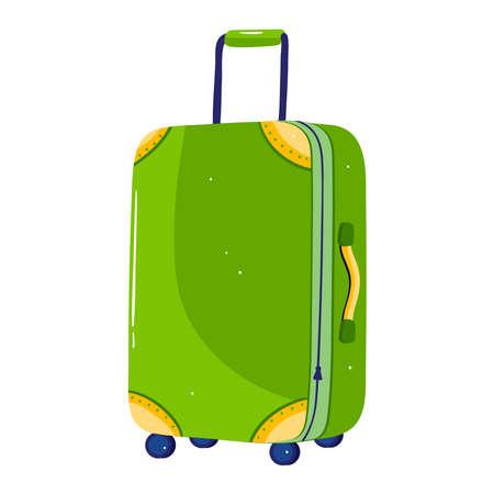 Travel suitcase isolated on white design cartoon style vector illustration.