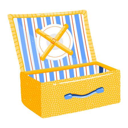 Vacation suitcase isolated on white design cartoon style vector illustration.