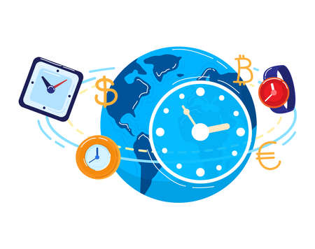 Time management business isolated on white design cartoon style vector illustration.