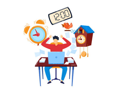 stress workplace isolated on white design cartoon style vector illustration.