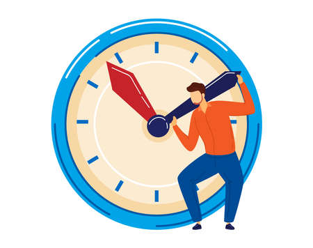 Business deadline, time management, clock concept, timer delay work, isolated on white design flat style vector illustration.