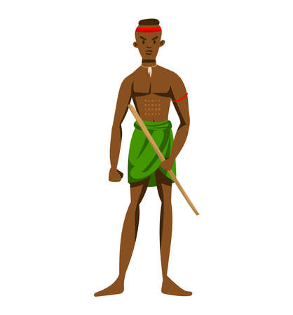 Ethnic africa, african tribe, traditional affiliation, young boy isolated on white design flat style vector illustration