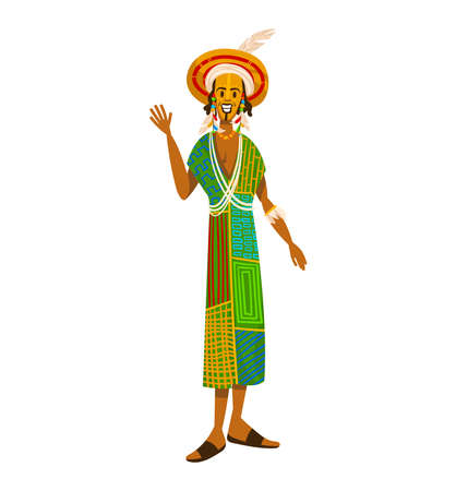 Ethnic tribe, African people, man culture clothes, tribal man, isolated on white design flat style vector illustration.