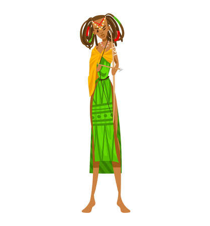 Ethnic girl, africa tribe aboriginal, woman traditional dance, isolated on white design flat style vector illustration. 向量圖像