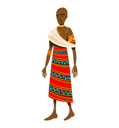 Ethnic aboriginal, member Indian tribe, traditional Indian, isolated on white design flat style vector illustration.