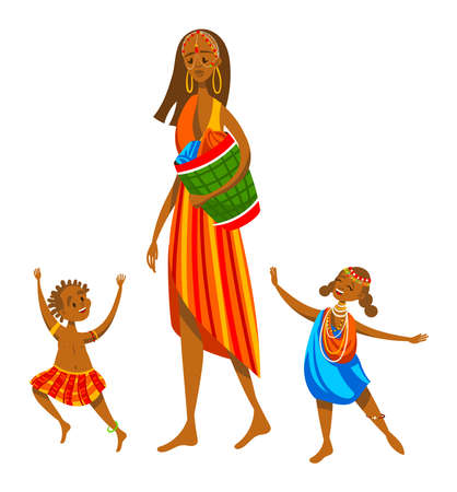 Ethnic family, africa tribe, mom kids funny, beautiful african woman isolated on white design flat style vector illustration.