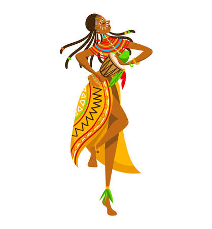 Ethnic girl, africa tribe aboriginal, woman traditional dance isolated on white design flat style vector illustration.