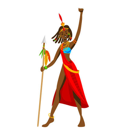 Ethnic style, africa tribe, girl spear weapon, wild african tribes isolated on white design flat style vector illustration.