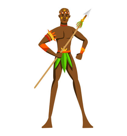 Ethnic hunter tribe, aboriginal loincloth, traditional lettering isolated on white design flat style vector illustration.