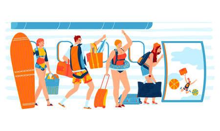 Summer vacation, travel plane, transport trip, beach season, tourism concept design cartoon style vector illustration.