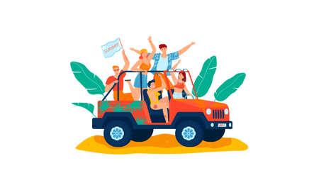 Summer vacation, beach driving car cartoon style vector illustration.