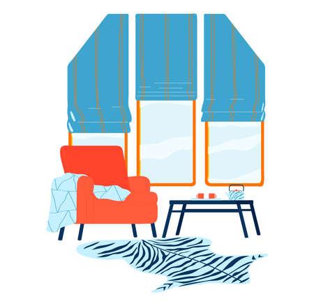 Window interior, apartment style modern design, cartoon style vector illustration. 向量圖像